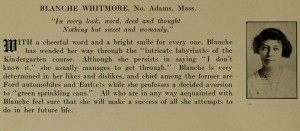 Blanche Whitmore's yearbook entry, 1914