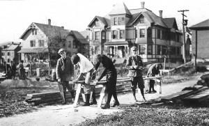 Students in the Normal School Gardens, c. 1917.