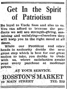 With the United States just barely decided on involvement in the war, advertisers take advantage of the patriotic atmosphere. North Adams Transcript, April 2nd, 1917.