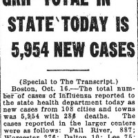 A small blurb in the North Adams Transcript tallies the new cases of Influenza, October 1918.